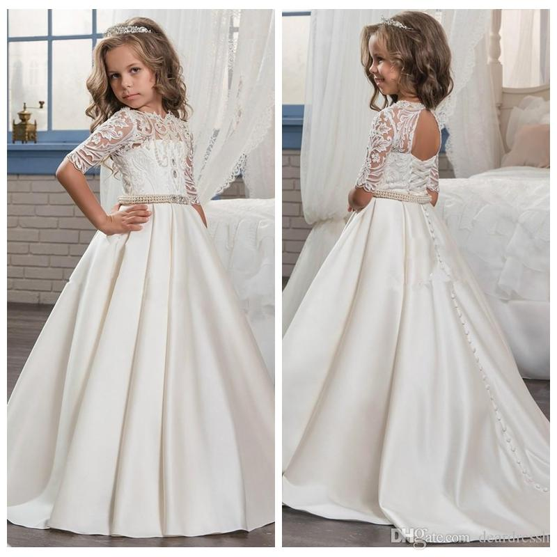 6a21914e26a Lace Top Half Sleeves Kids Flower Girls Dresses Beaded Pearls 2019 Formal  Open Back Satin Girl Wedding Wear Cheap Birthday Party Gowns Purple And  White ...