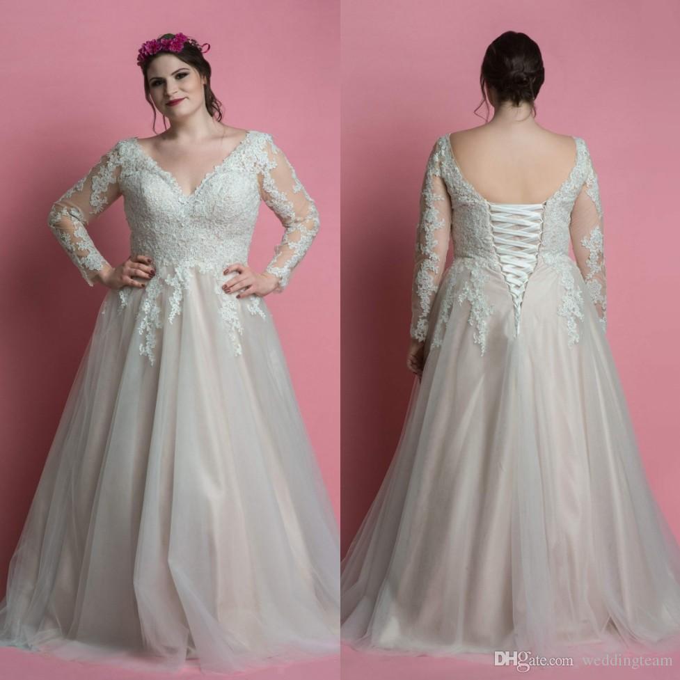 c4efc676a01 Discount Hot Sale Plus Size Lace Wedding Dresses With Long Sleeves V Neck  Corset Bridal Gowns A Line Floor Length Tulle Vestido De Novia Prices Of  Wedding ...