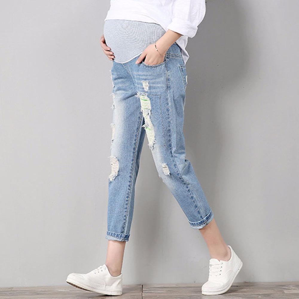 b7c237cff Compre Jeans Maternidad Cómodo Algodón Azul Pantalones De Mezclilla Mujeres  Embarazadas Ropa Pantalones Enfermería Embarazo Ropa Monos Niño Alto A   27.66 ...