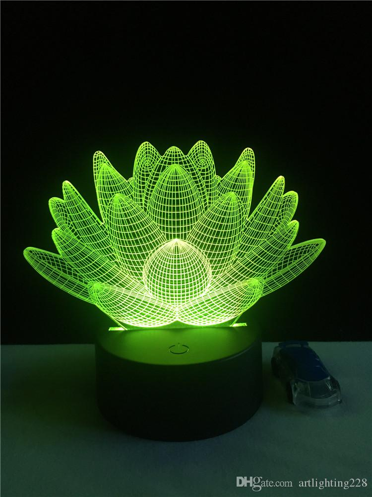 2018 New Usb Led Night Light Lotus Flower 3d Holiday Desk Lamp Switch Lantern Touch Laser Para Gift Decoration From Artlighting228