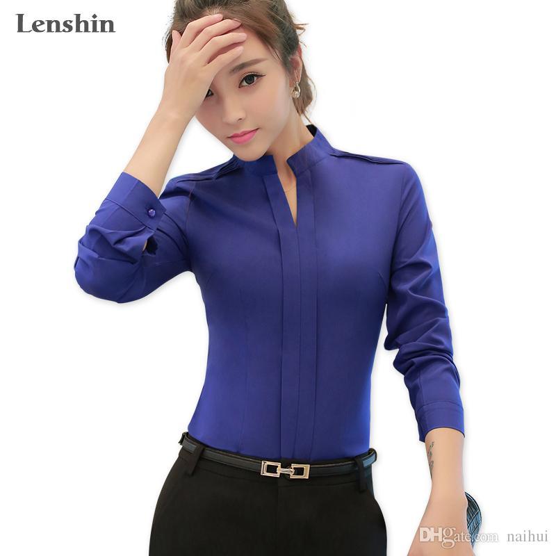 5460e13157255 Compre Camisa Azul De Lenshin Ropa De Mujer Blusa Con Cuello En V De Office  Lady Top Profesional A  17.99 Del Naihui