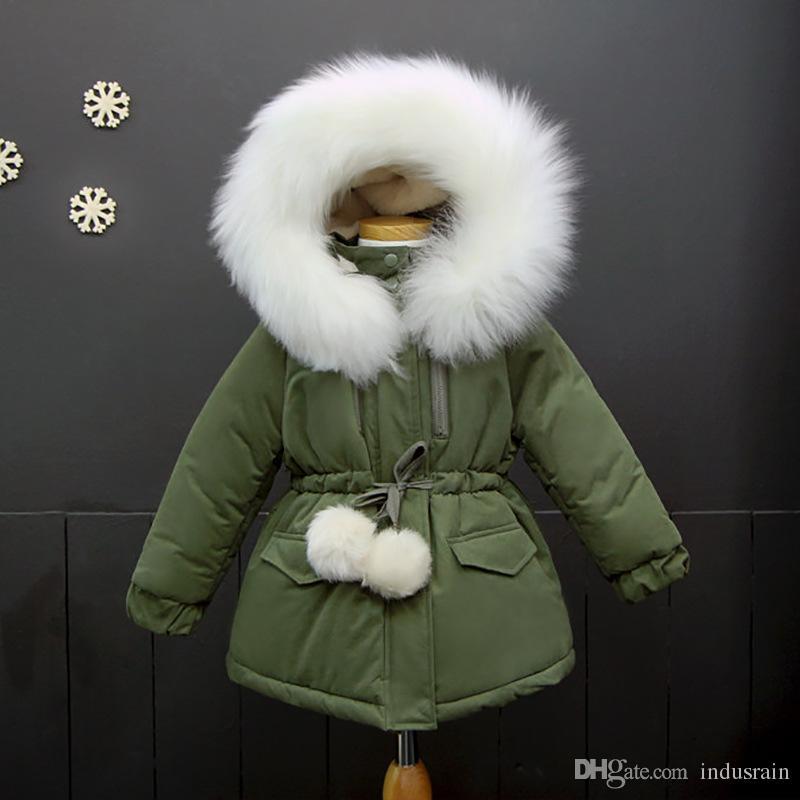 82c052dea New Children Winter Jackets For Girls Outerwear Faux Fur Collar ...