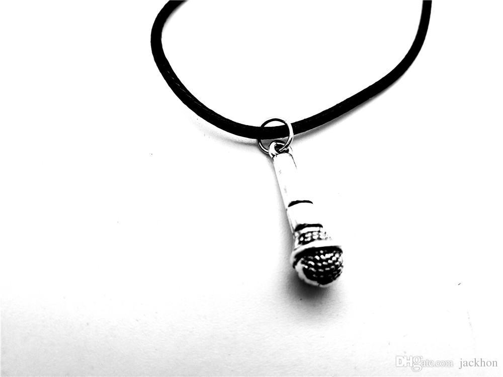 Винтажная музыка KTV беспроводной микрофон кулон ожерелье хип-хоп рэпер DJ ночной клуб кожа веревка ожерелья друг ювелирные изделия
