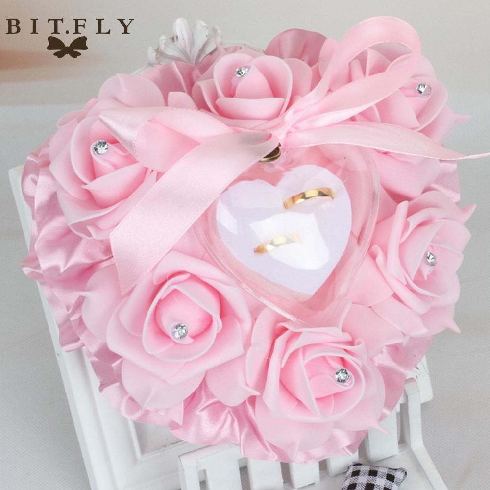 2018 Wedding Pillow Heart Design Elegant Rose Flowers Wedding Pillow ...