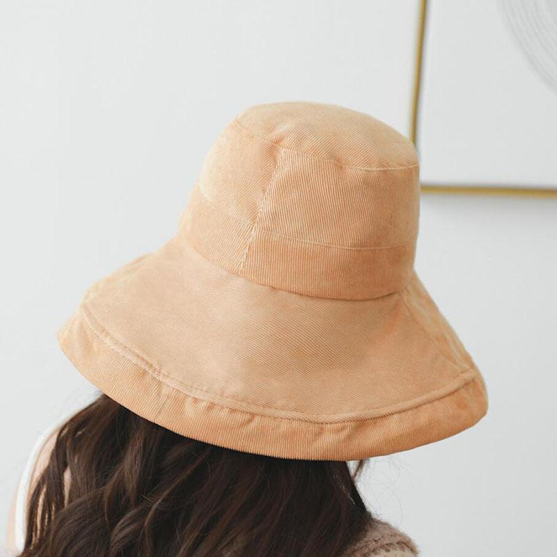 815e848a19c1e BINGYUANHAOXUAN Adult Corduroy Flat Hats For Women Chapeau Bucket Hat Solid  Fisherman Caps Outdoor Sun Protective Beach Hats Bucket Hats Cheap Bucket  Hats ...