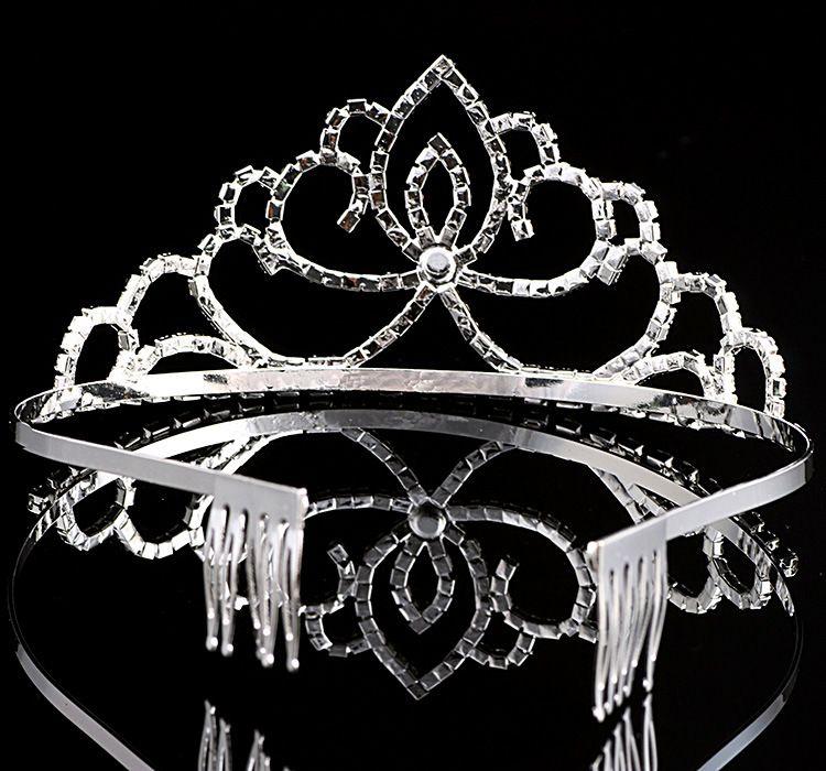 اليدوية بلينغ الفضة الزفاف العرسان كريستال ولي العروسة التيجان هدية لطيفة لفتاة 12 * 5.5CM H0004