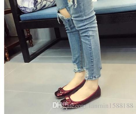 Free send Hot 2016 spring and summer new style women's shoes square toes Shallow mouth flat bottom single shoes bowknot