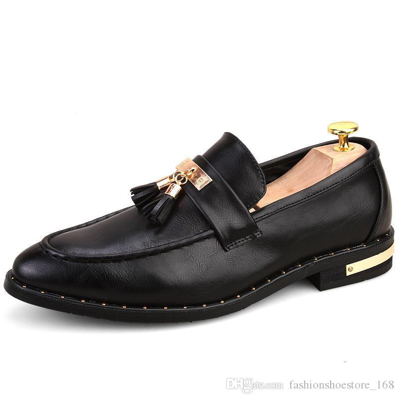 54ccc0c7f Italian Formal Shoes Men Loafers Pointed Toe Tassel Formal Leather Elegant  Oxford Shoes For Men Formal Wedding Dress Shoes Leather Men Shoe Mens Boat  Shoes ...