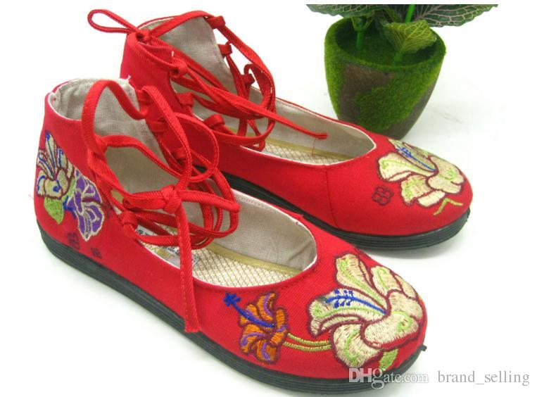 Women Retro fashion Red Embroidered shoes flat hidden heel lace crossover strap embroidery flowers printed casual pumps