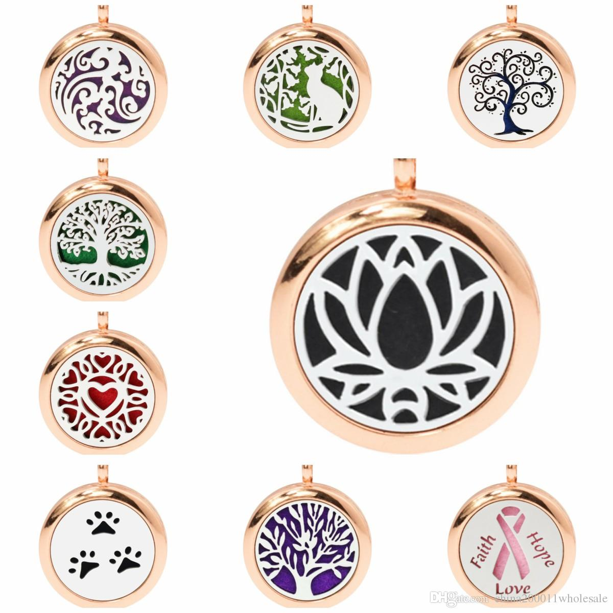 2018 Lotus Flower Tree Of Life Rose Gold Color 25mm Magnetic