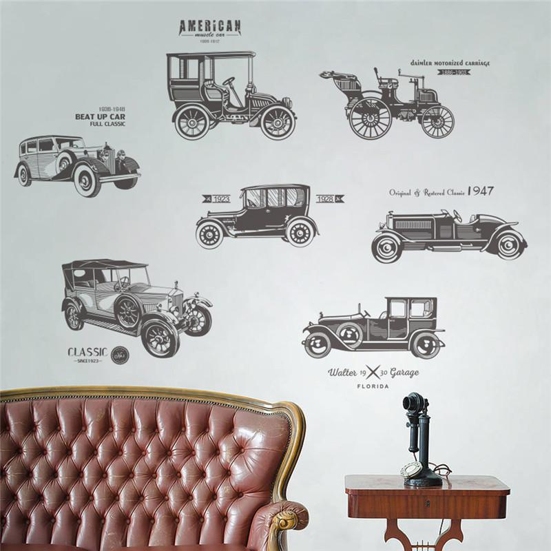 Vintage Car Wall Stickers For Kids Rooms Children Nursery Boy Room