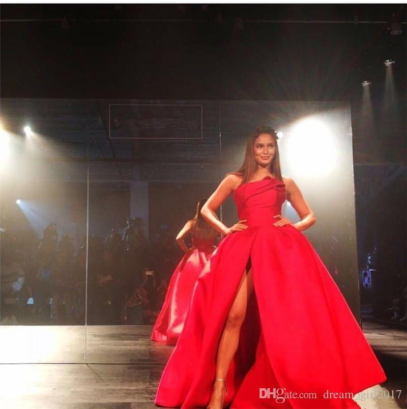 New Fashion Red Plus Size Evening Dresses 2018 Sexy High Split Strapless Ball Gown Prom Dress Backless Floor Length Celebrity Pageant Gowns