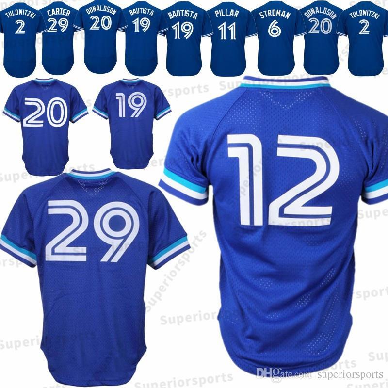 247a5e06f Toronto Blue Jays 29 Joe Carter Jersey 19 Jose Bautista 12 Roberto ...