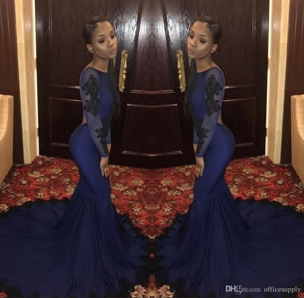 African Mermaid Prom Dresses 2019 Lace Boat Neckline