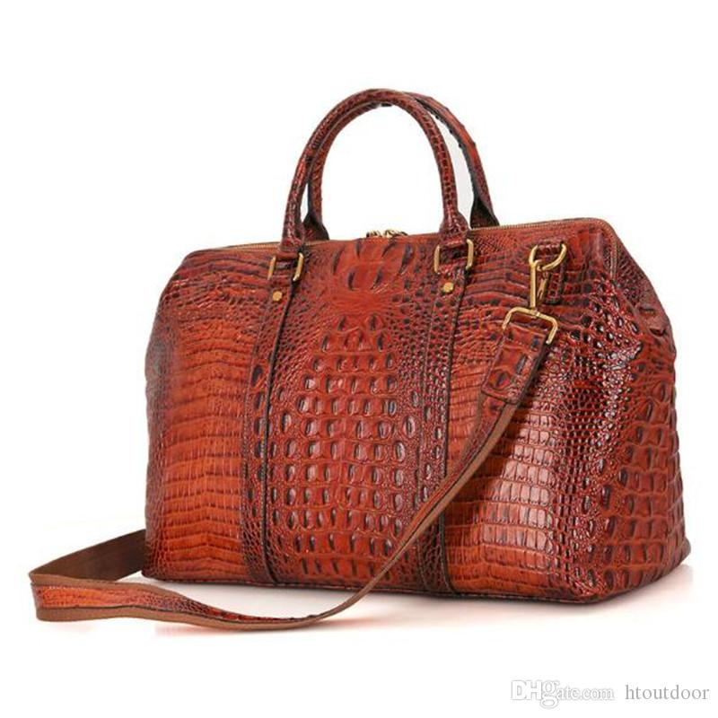 86c8fefb46b9 2019 18 Inch Vintage Genuine Leather Luggage Bag Crocodile Embossed Leather  Overnight Travel Duffle Duffel Weekend Bag Business Laptop Bag From  Htoutdoor