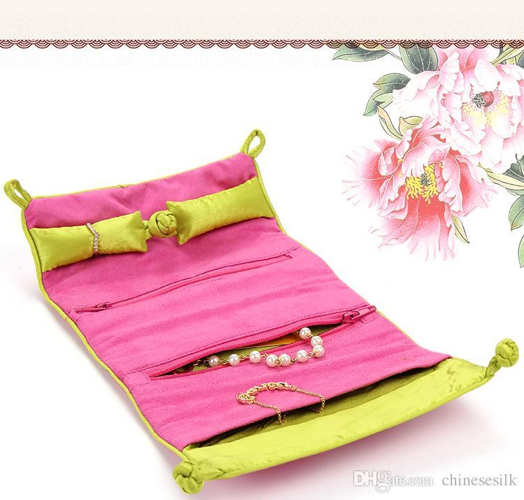 Portable Suede Cuir Bijoux Roll Up Voyage Sac Pliant Brodé fleur Chinois Bijoux Sacs Poche /