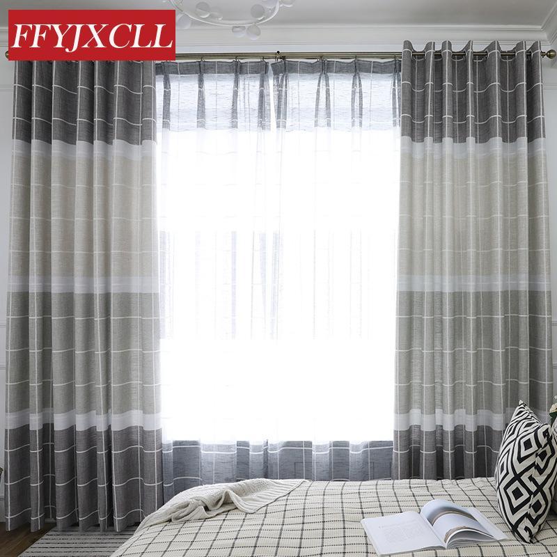Panno di lino per tende da camera da letto di plaid di lino nero in cotone  moderno cucito per camera da letto soggiorno semplice decorazione della ...