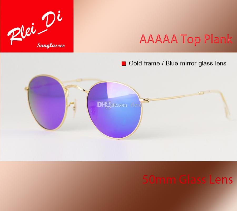 a3abbed7d8 AAAAA Round Glass Lens Glass Lens Sunglasses Womens Mens Sunglasses Circle  Hinge Metal Frame UV400 Shade Eyewear Set Unisex Plank With Case Sunglasses  Case ...