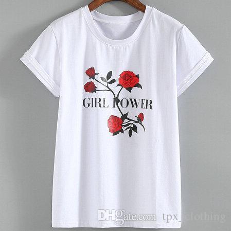 Girl Power T Shirt Flower Rose Short Sleeve Gown Leisure Sport Tees