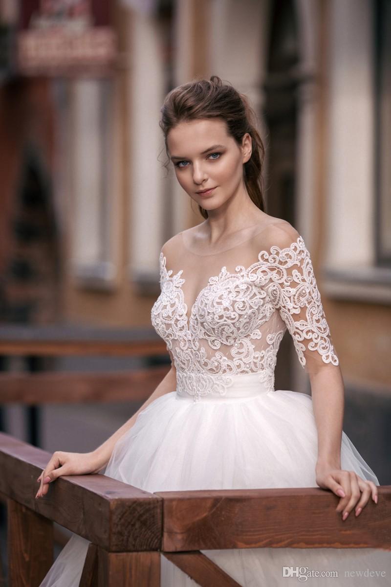 Robe de mariée robe de mariée en dentelle Milva Nude Sexy pure robes de mariée nuque robes de mariée avec manches