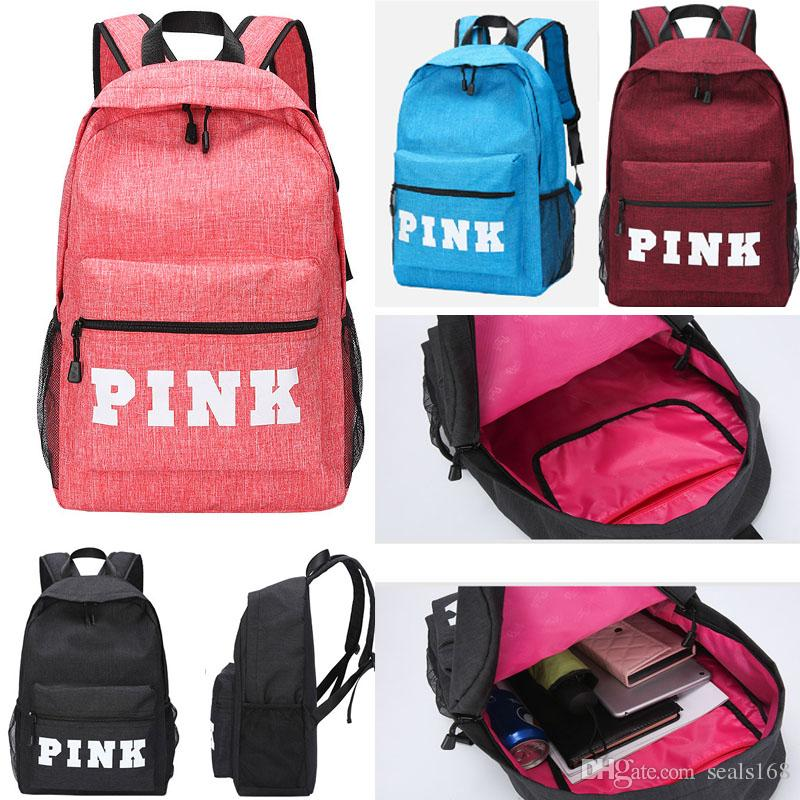 PINK Letter Backpacks Kids Student Fashion Large Female Travel ... a2de33fd4a0dc
