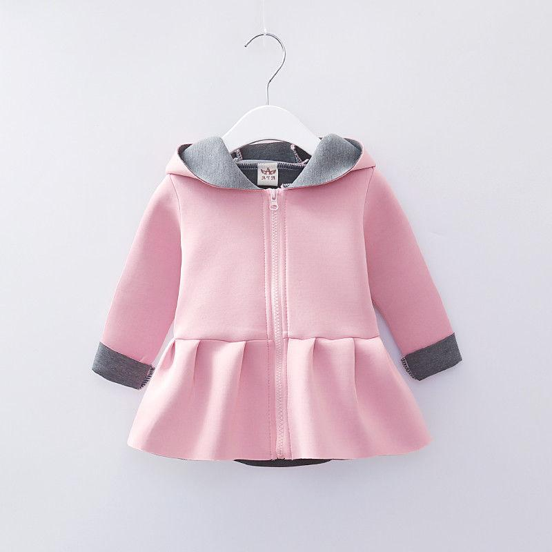 a46af9704 Baby Girl Newest Style Fashion Rabbit Ear Hoodies Coat Ruffle Autumn ...