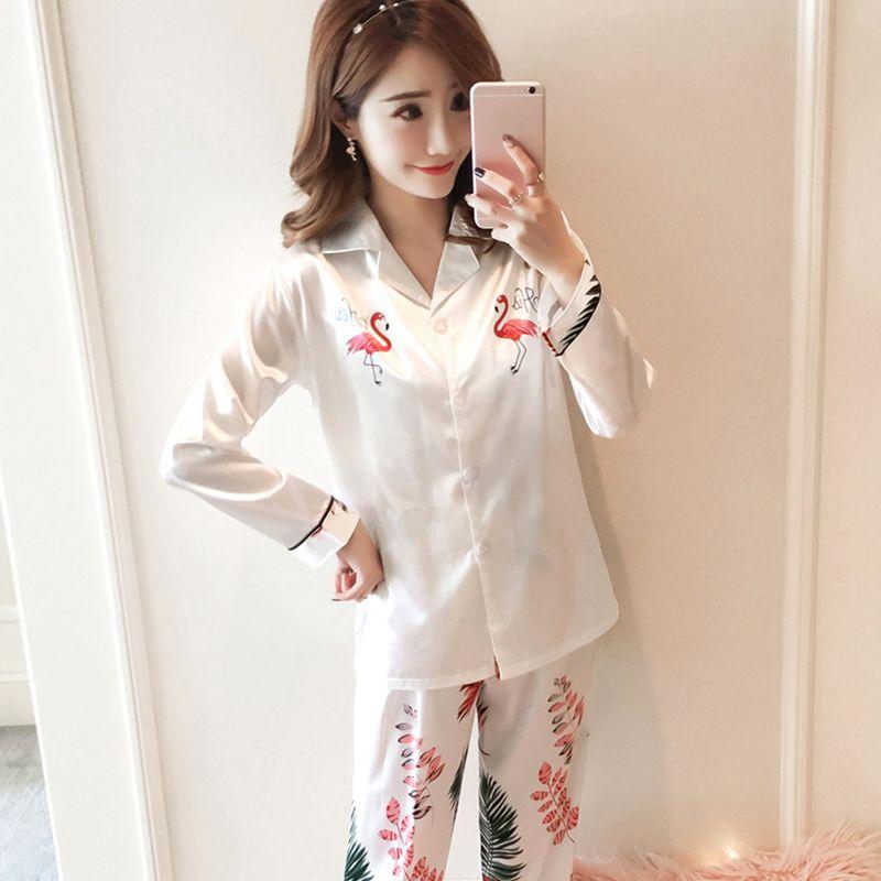 f69981e38e 2019 Turn Down Collar Satin Print Bird Pajamas Suits 2018 Autumn Female  Faux Silk Loungewear Feminino Woman Lace Up Homewear From Qiangweiflo
