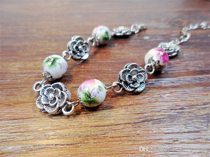 Hand catenary female Small pure and fresh and Tibetan silver accessories ceramic bracelet for girls women ladies