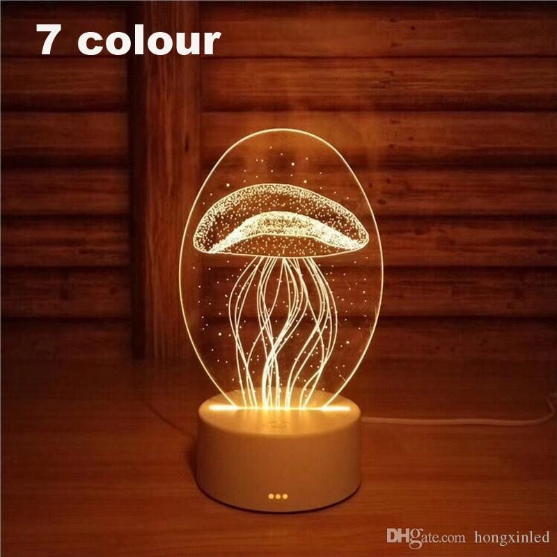 3D Led Night Light Change Novelty Table Lamp Home Decor Bedside 3d Lamp Child Gifts 2018 New 7 Color Jellyfish