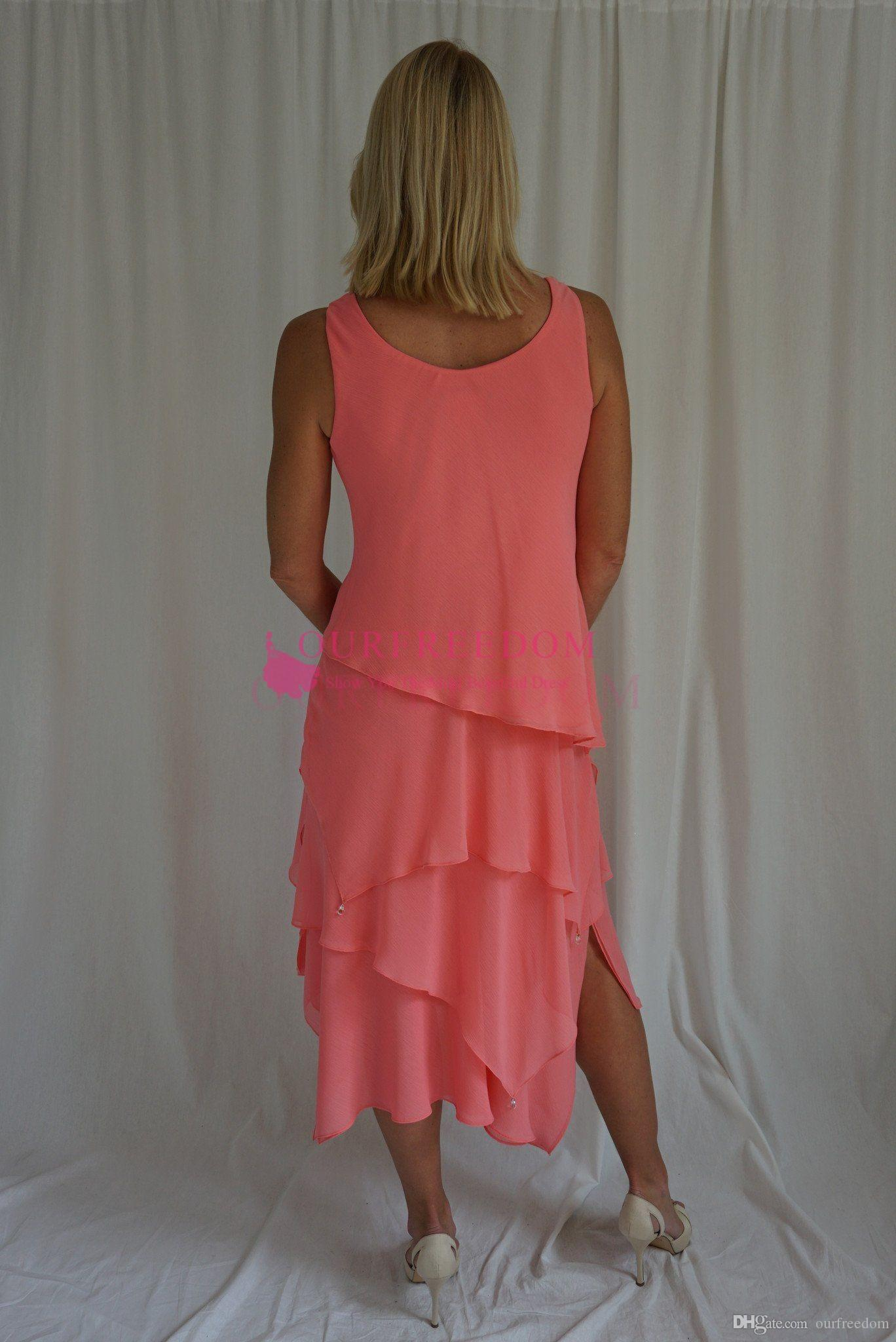 2019 New Modest With Jacket Kleider für die Brautmutter Coral Chiffon Tea Length Tiered Skirt Abendkleider für die Mutter Abendgarderobe Custom