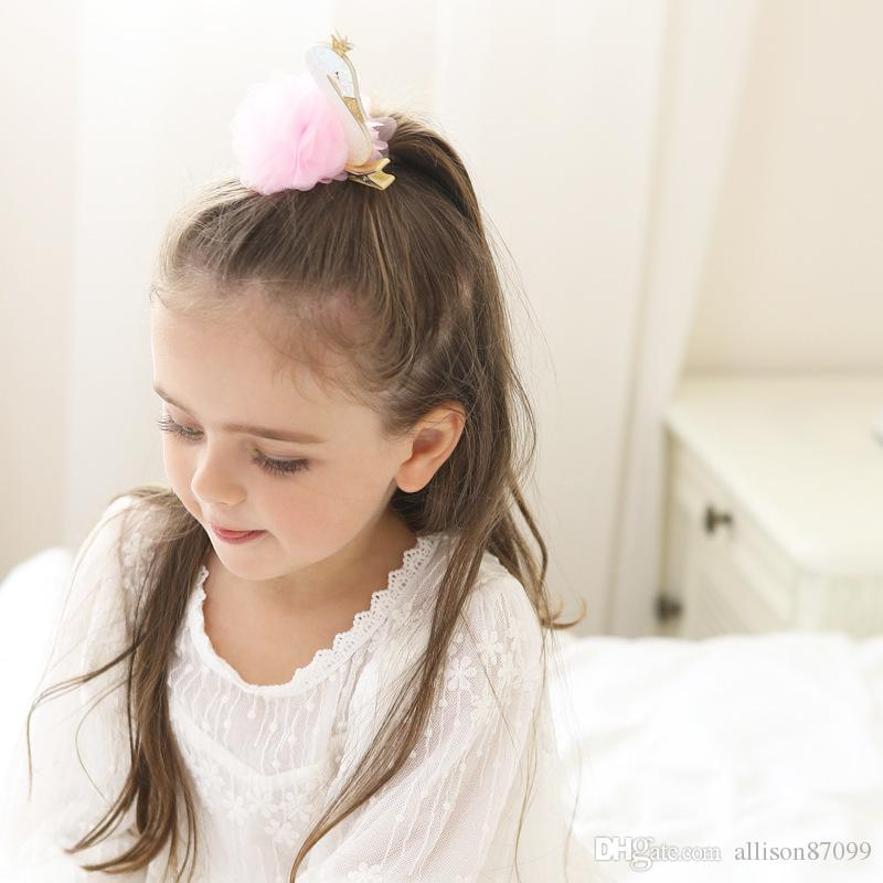 Girls Hair Clips Stereo swan fur Barrettes Hair ornaments Fashion Show White Pink Party Hair accessories 2018 Boutique Accessories