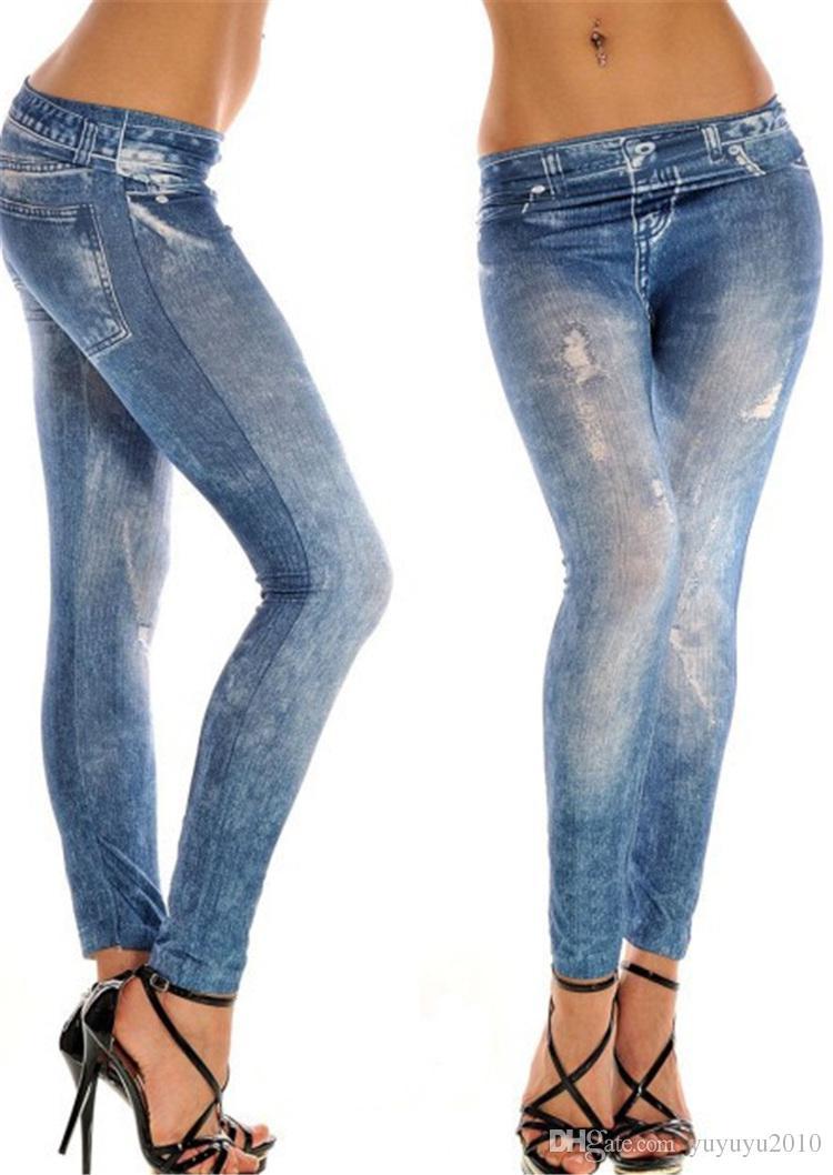 Women's Jeans Large size super elastic seamless hole imitation cowboy leggings 2017 plus size Jeggings leggings YWOM8158