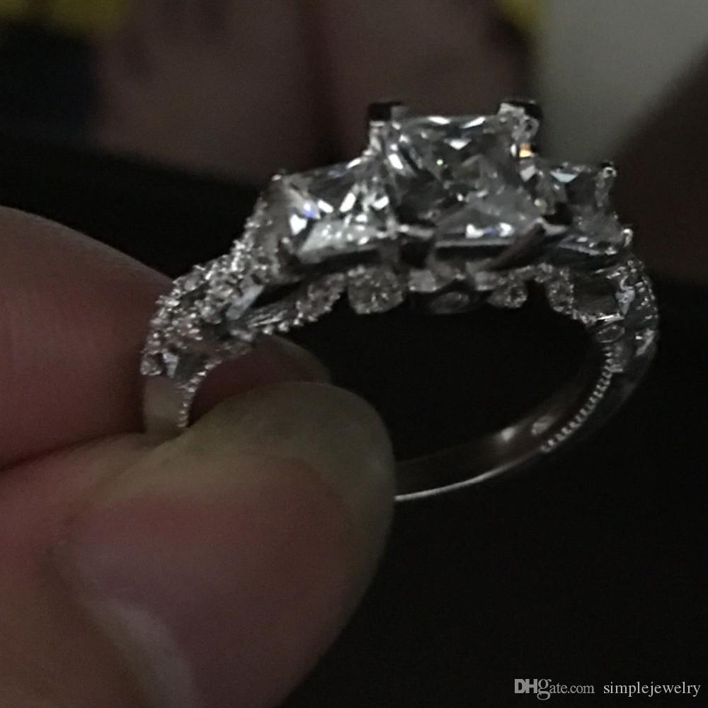 2016 Women vintage ring Handmade Three-stone 2ct Diamond 925 Sterling silver Engagement Wedding Band Ring for women