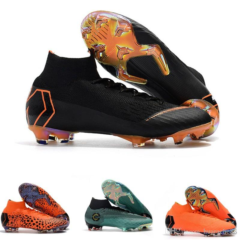 0484d16c2 2019 2019 New Top Quality Mens Women Kids CR7 Football Boots Fashion Mercurial  Superfly KJ VI 360 Elite FG Soccer Shoes Outdoor Soccer Cleats From ...