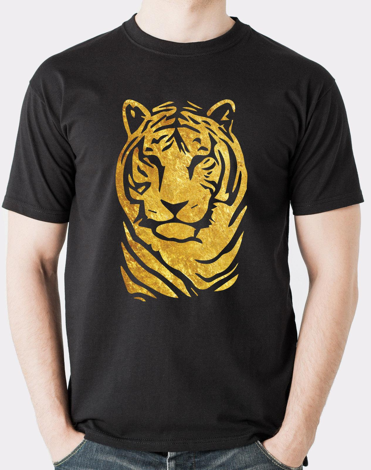 Gold Foil Tiger Design On A Loose Fit T Shirt Mens Tshirt Funny Free Shipping Unisex Casual