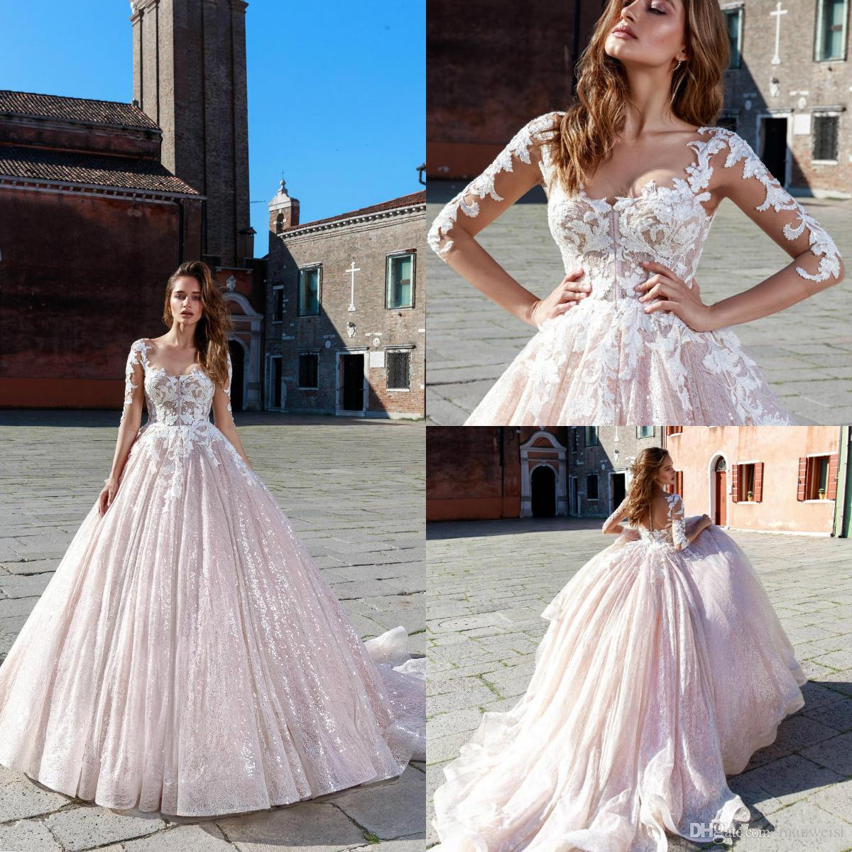 087f0f81ff4c Ricca Sposa Blush Ball Gown Wedding Dresses 2019 New 3/4 Long Sleeves Beads  Appliques Bridal Gowns Dubai Sequined Vestidos De Novia Maternity Wedding  Dress ...