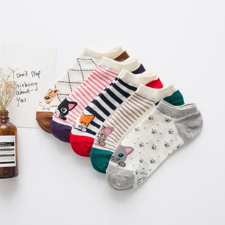 Socken Schiff Knöchel Baumwolle Polyester für Dame Mädchen Frauen weiblich 20-24,5 cm frei Größe Streifen Katze Cartoon Design