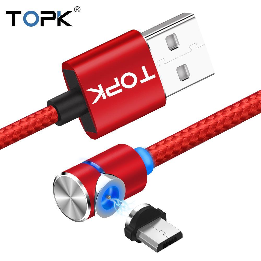 Topk L Line 1m Led Magnetic Micro Usb Cable Angle 90 Degree L Shape ...
