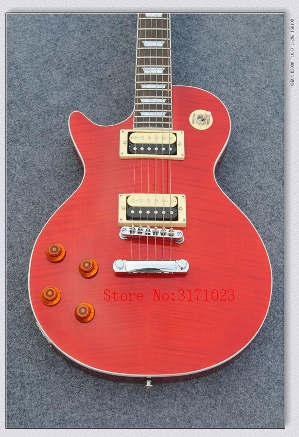 Chitarra elettrica mancino personalizzata con corpo rosso, 22 tasti, impiallacciatura di acero fiammato, intarsio vaso di fiori
