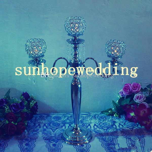 Wedding Decoration Crystal glass bead Candle Holder