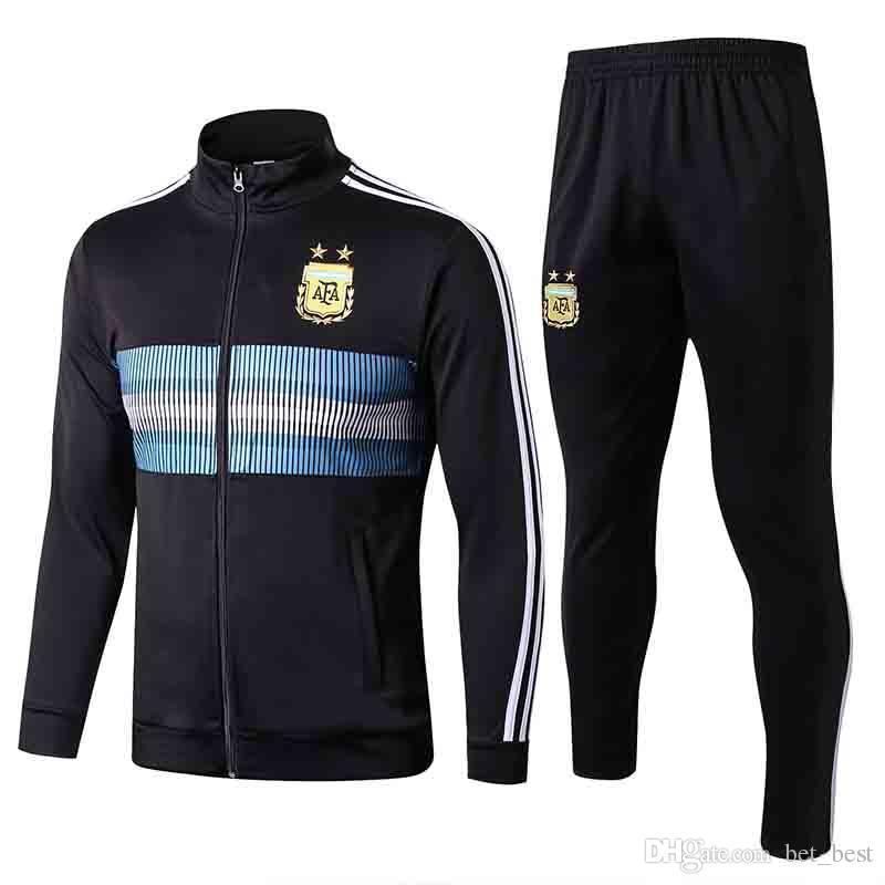 Pants From Suit Soccer Tracksuit Sportwear Jacket 2019 Set Argentina 19 Soccer Bet Tracksuit Argentina 2018 18 Mens Black Jacket best Training PwzgqxU