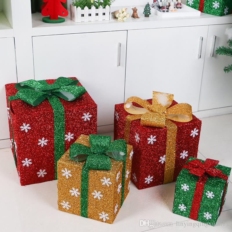 15202530cm navidad christmas gift box diy showcase supermarket scene decoration snowflake bow knot organza gift storage box christmas items on sale