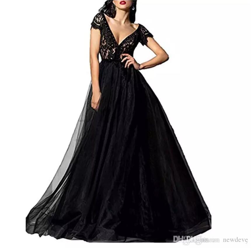 981666df96 Sexy V Neck Long Prom Dresses 2018 Glamorous Black Lace Top Short Sleeves Formal  Evening Dress Hot Sale Prom Party Gowns Custom Made Unusual Prom Dresses ...