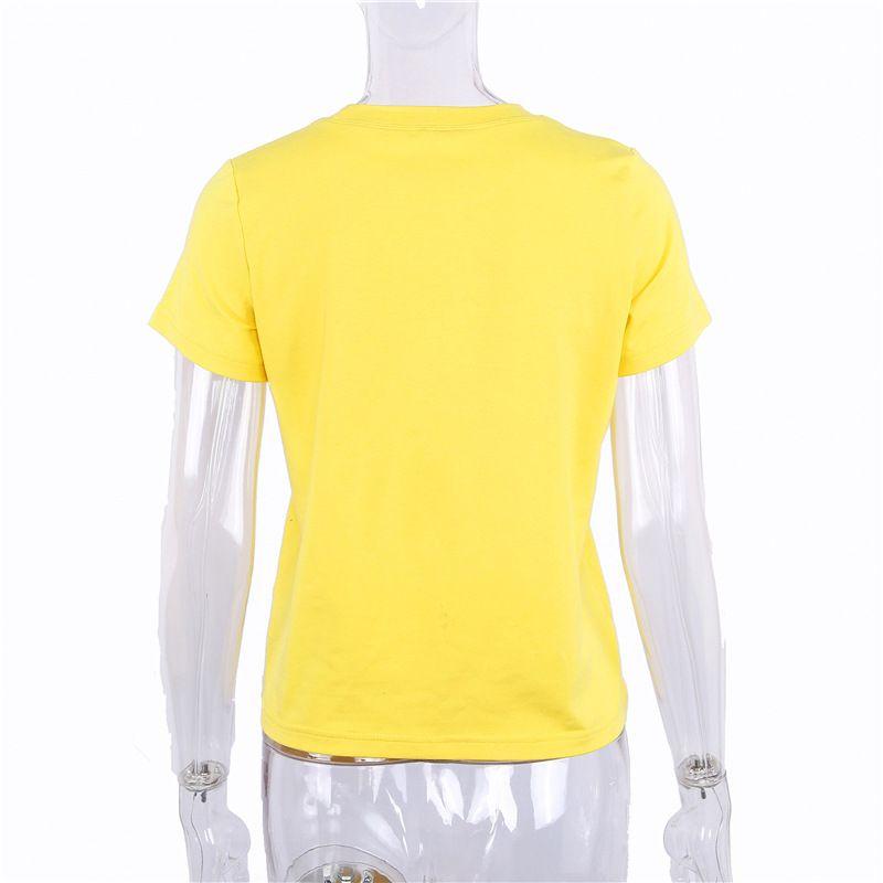 2018012519 Bal baskı t shirt kadın üstleri tees kısa kollu kadın t-shirt rahat 2018 yaz mektup tatlı t-shirt giyim