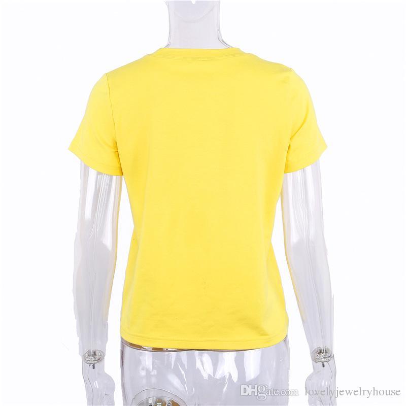 2018012519 Miel impression t-shirt femmes tops t-shirts à manches courtes femme t-shirt casual 2018 lettre d'été doux t-shirts vêtements