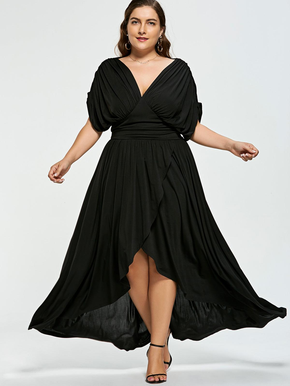 d5f6e0ca923d 2019 Gamiss Plus Size V Neck Women Summer Dress Short Sleeve Party Dress  Floor Length Empire Waist Maxi Formal Jersey From Silan