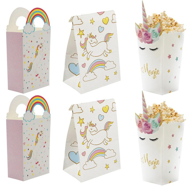 Unicorn Party Gift Bags 1st Birthday Paper Popcorn Box Cookies Decorations Kids Baby Shower Supplies Custom Wrap