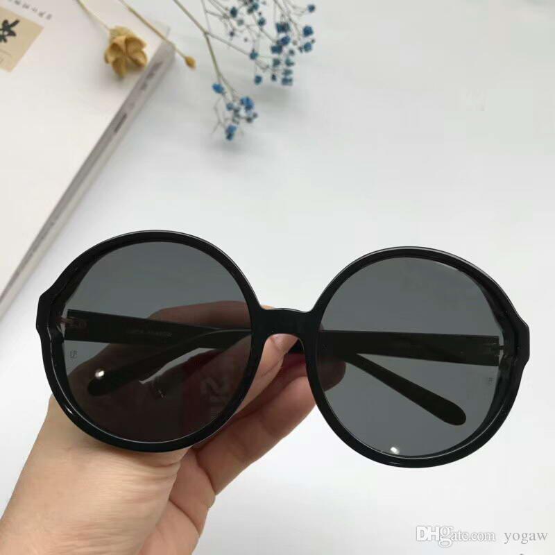 6599036673a0 Linda Farrow LFL657 Round Sunglasses Black Grey Fashion Brand Sunglasses Uv  Protection Eyewear New With Box Custom Sunglasses Heart Shaped Sunglasses  From ...