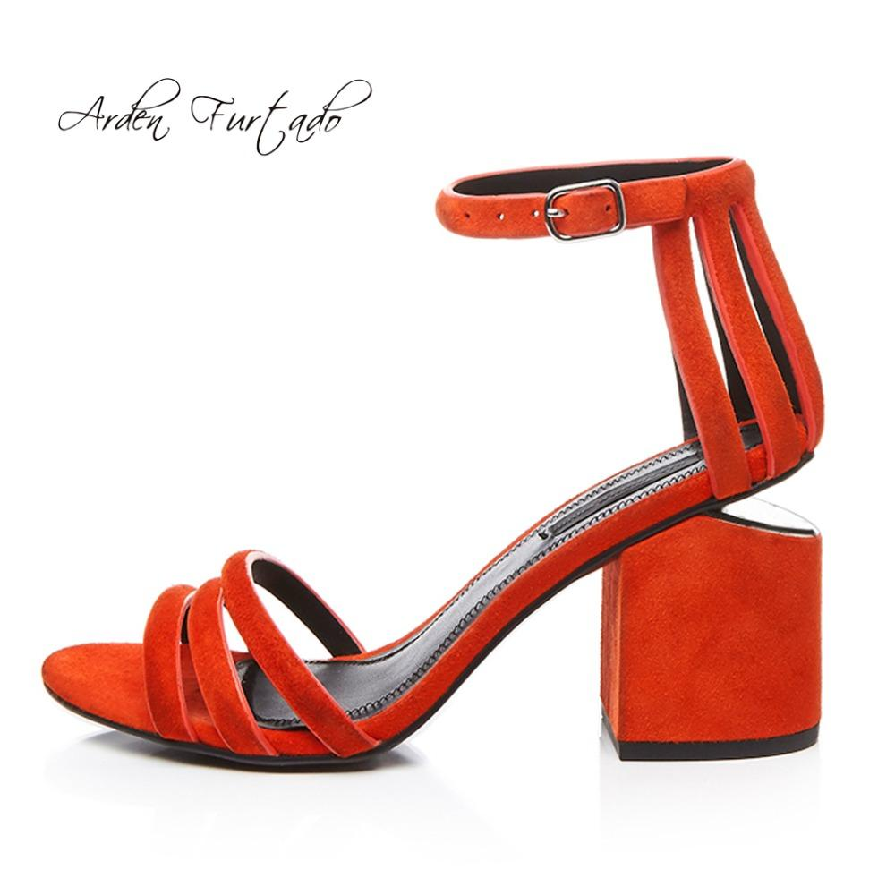 Arden Furtado 2018 Summer Genuine Leather Buckle Strap Fashion Cover Heels  Sandals Chunky Heels 8cm Orange Shoes Woman Ladies Chunky Heels 8cm Orange  ... 8d4457bffd95