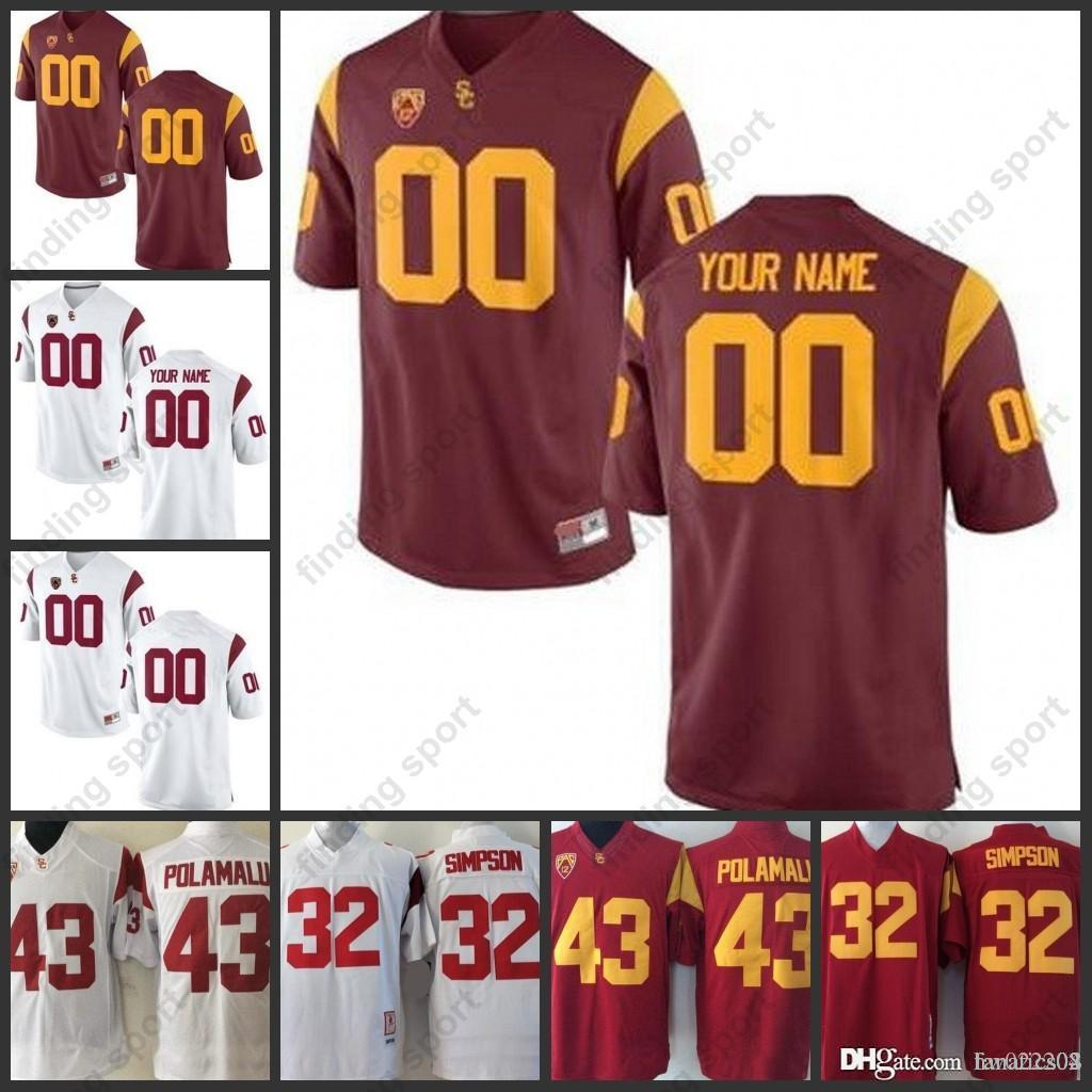 a2ef585f337 2019 Custom USC Trojans Stitched Any Name Number 43 Polamalu 32 Simpson 55  Seau 14 Darnold 2018 NCAA College Football Jersey From Fanatics04, ...